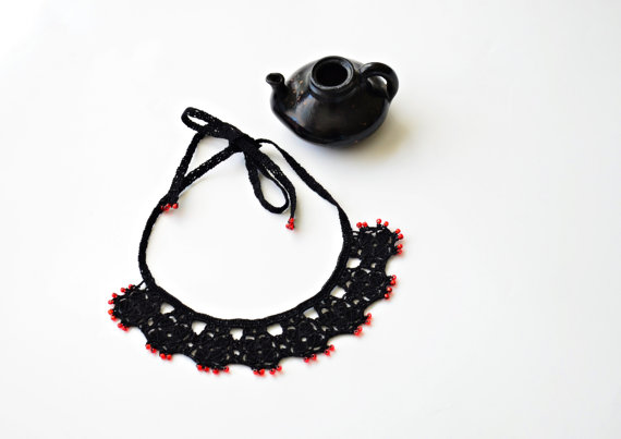 Mariage - Black Crochet Motif Necklace Red Beads Oya Beaded Jewelry Necklace Jewellery, Beadwork, ReddApple, Fast Delivery