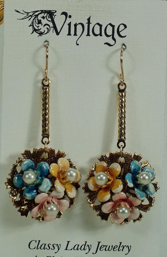 Mariage - Vintage Enamel Bouquet Earrings, Redesigned 50's Jewelry, Art Nouveau Style, Pearl Earrings, Garden Wedding, Gold Connector, Gold Ear Wires