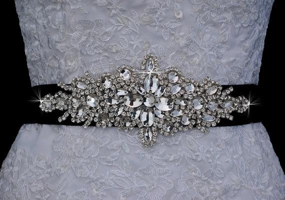 Mariage - Black Bridal Sash Belt , Wedding Sash Belt , Handmade Crystal Rhinestone Sash Belt , Wedding Sash , Bridal Belt , Bridal Sash