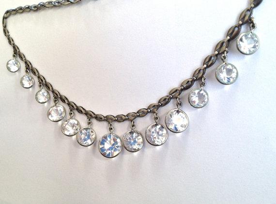 زفاف - Art Deco necklace, Crystal Necklace. Open back. Machine Age,  Wedding Bridal necklace.