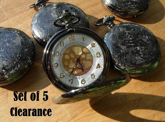 زفاف - Wedding Set of 5 Gunmetal Pocket Watches with Chains Wedding Groomsmen Gift Pocket Watch Fast Shipping
