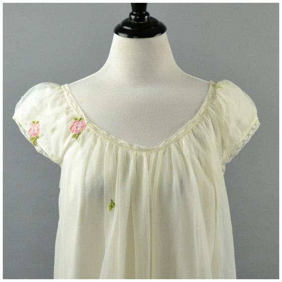 Свадьба - Dreamy White 1950's BabyDoll Nightgown