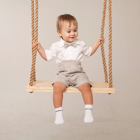 Baby Boy Linen Suit Wedding Ring Bearer Outfit Boy Natural Clothes ...