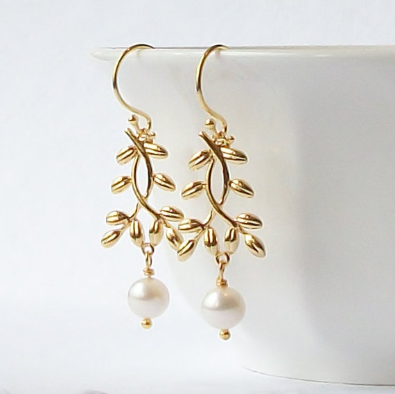 Свадьба - Pearl Gold Branch Dangle Earrings, AA, Mothers Day Jewelry Gift under 20
