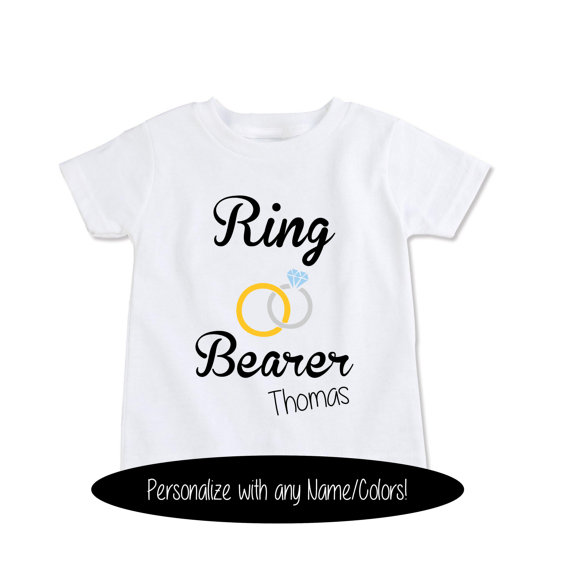 Свадьба - Custom Gift T-Shirt Ring Bearer shirt, Personalized ring bearer rehearsal t shirt, personalize with any Name and colors (EX 366)
