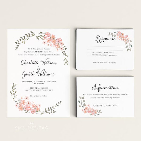 Printable Wedding Invitation Set - Watercolor Floral Garden - Ready To Print PDF - Rsvp Card ...