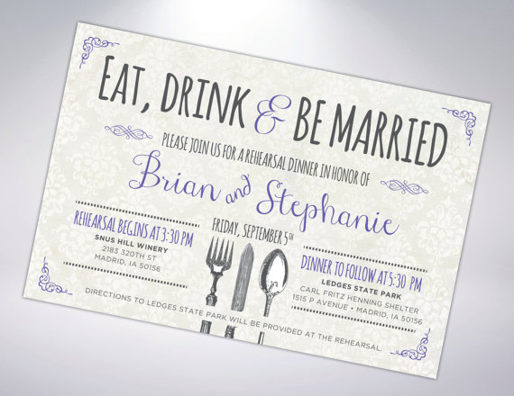 Rehearsal Dinner Invitation; Postcard Optional #2278636 - Weddbook