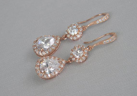 Свадьба - Rose Gold Bridal Earrings, Wedding Jewelry, Crystal Bridal Earrings, Bridesmaid jewelry,  Evelyn Rose Gold Earrings