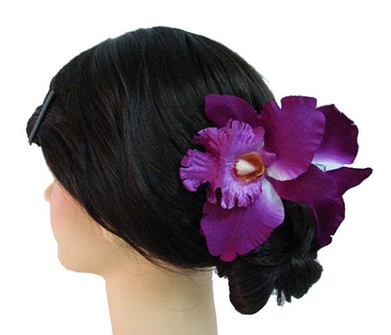Свадьба - Silk Orchid Flower Hair Claw Bridal Wedding