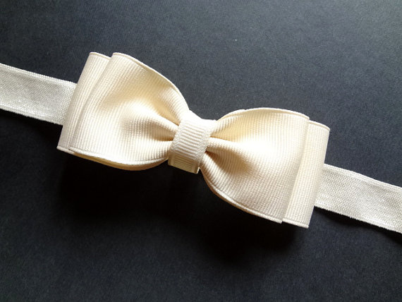 Wedding - Ivory Flower Girl Headband, Ivory Hair Bow Headband. Ivory Baby Headband. Baby Hair Accessories. Girls Hair Accessories. Ivory Bow Headband