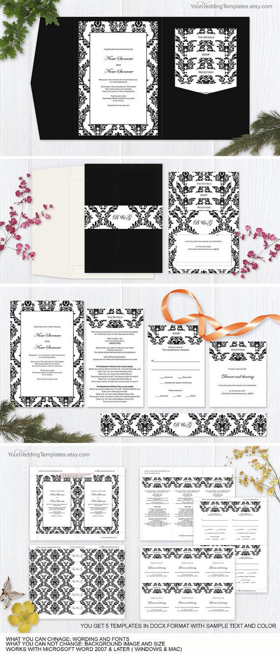 Mariage - Black and white damask- pocket fold wedding- invitation set templates-Printable pocketfold wedding invite templates