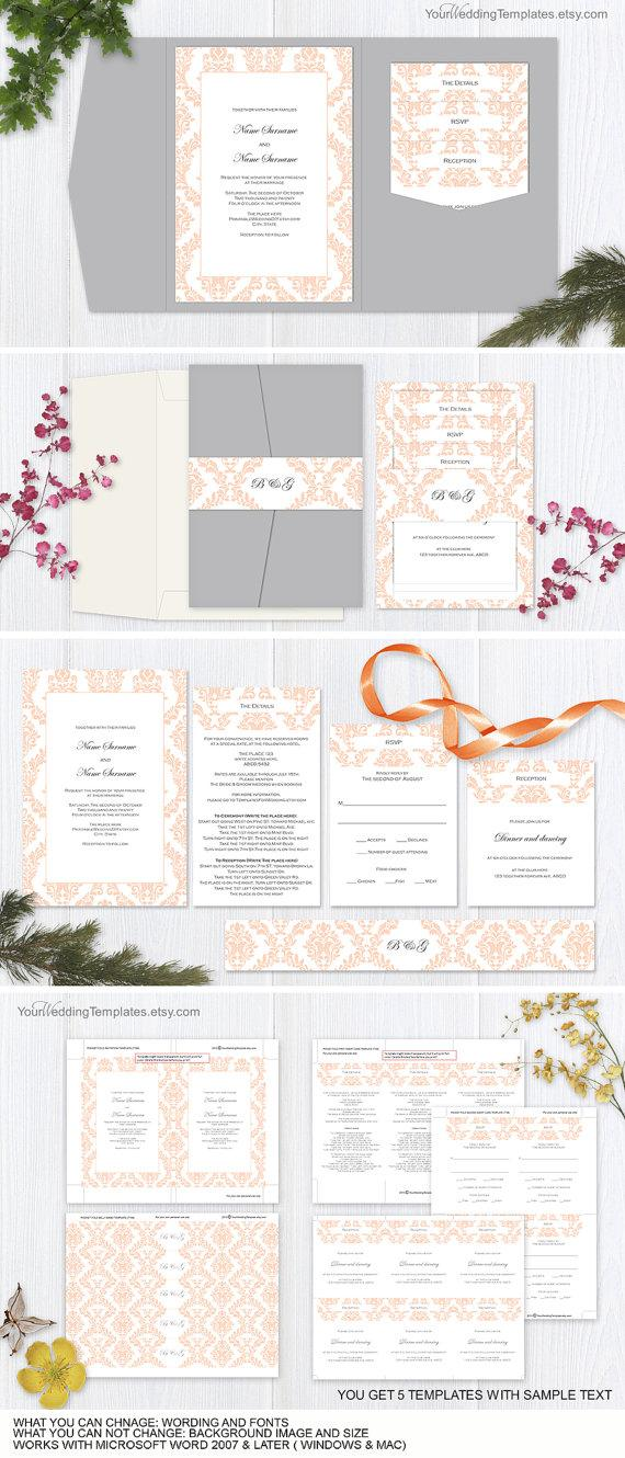 Mariage - Peach wedding pocketfold invitation suite templates