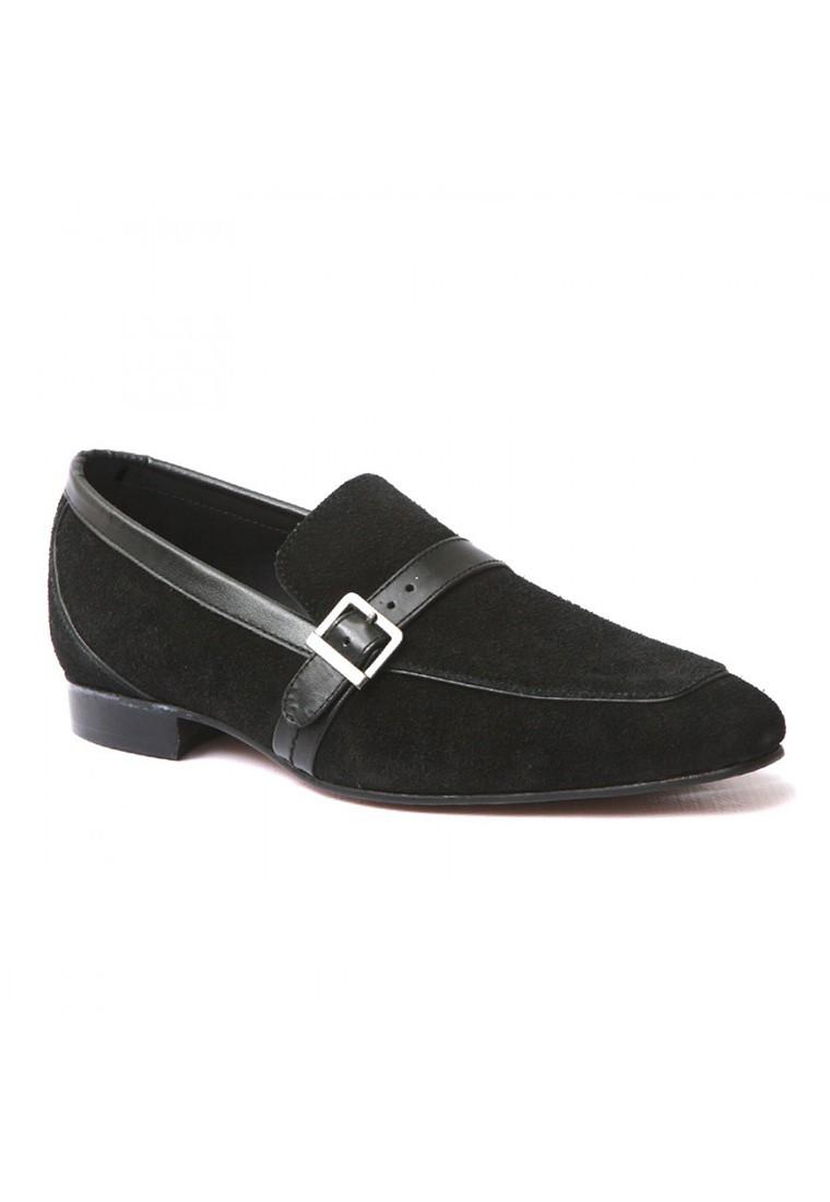 Mariage - Life Style Mens Black SUEDE LEATHER Casual Shoes With Leather Trim