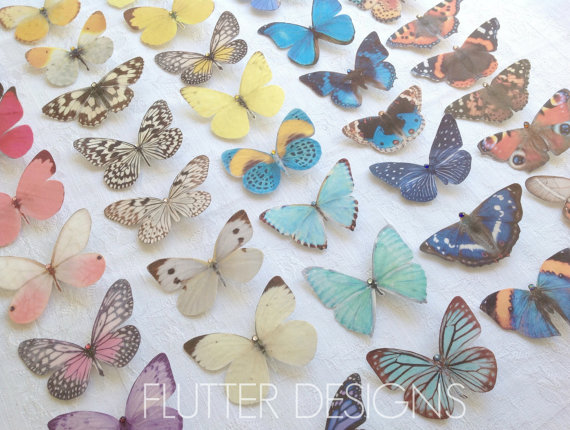Свадьба - Hand cut silk butterfly hair clips with Swarovski Crystals Bride Wedding Prom Garden Party Ethereal Boho- Pick and mix selection of 3