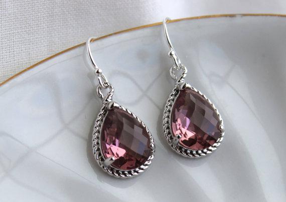 Hochzeit - Eggplant Plum Earrings Purple Silver Teardrop Earrings Bridesmaid Earrings Eggplant Wedding Earrings Plum Jewelry Valentines Day Gift