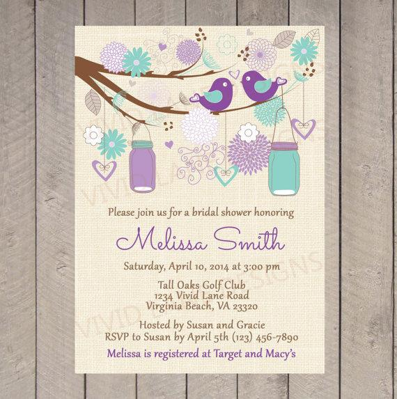 bridal shower invitation purple and teal wedding shower invitation love birds invite mason jars invitation printable lavender 107