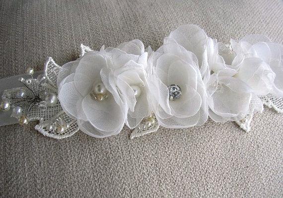 Mariage - Wedding Belts and Sashes - Ivory Off White Bridal Sash - Romantic Floral Belt - Wedding Floral Sash - Pearl Rhinestones Bridal Sash