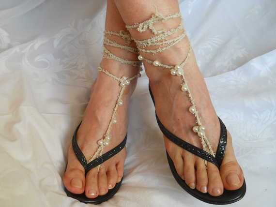 Свадьба - CROCHET BAREFOOT SANDALS / Barefoot Sandles Anklet Shoes Beads Victorian Crochet Women Wedding Sexy Accessories Cotton Elegant Feminine Chic