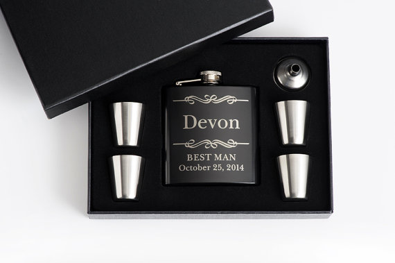 Hochzeit - 6, Personalized Groomsmen Gift, Engraved Flask Set, Stainless Steel Flask, Personalized Best Man Gift, 6 Flask Sets