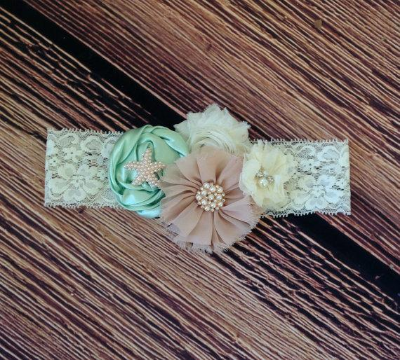 Mariage - Mint Ivory Beige Lace Headband, Vintage Headband, Flower Girl, Rustic Headband, Beach Wedding Headband, Teen Adult Baby Girl Headband