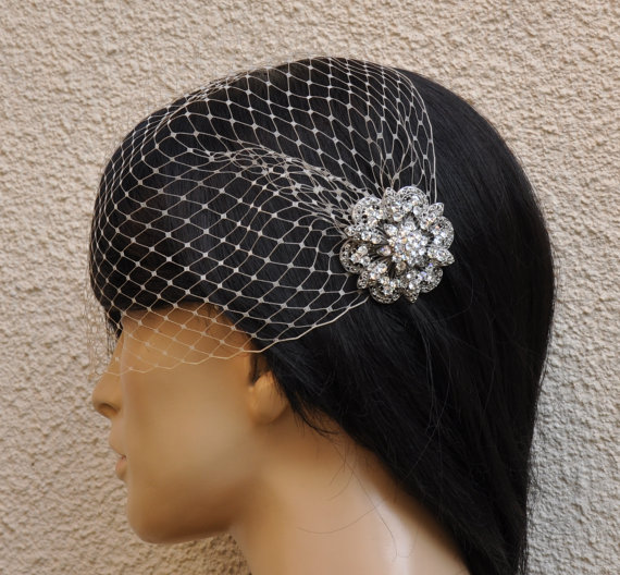 Свадьба - BIRDCAGE VEIL ,bridal comb, (2 items),bridal veil wedding, Bridal Hair comb,,bridal head piece,bridal hair accessories