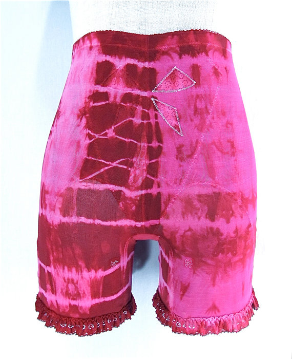 Mariage - RESERVED for Imelda Hand Dyed Girdle Panty LARGE Bali Vintage Garter Girdle Panties Tie Dye Boho Pin Up Lingerie Hippie Bridal Burlesque
