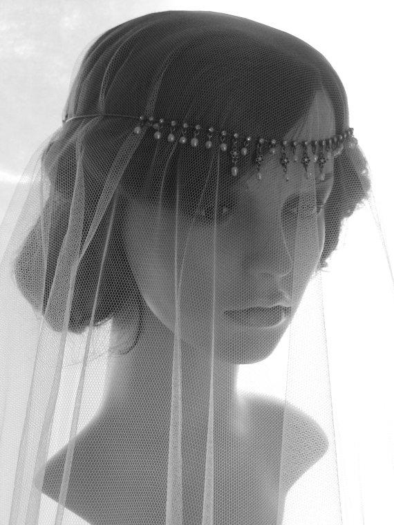 Свадьба - drop veil - wedding veil with vintage headpiece - New York