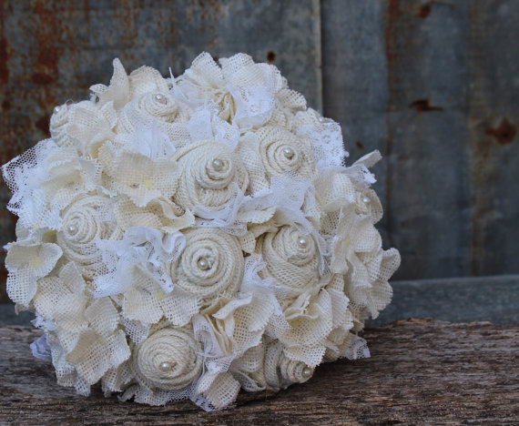 Hochzeit - White Burlap and Lace Bridal Bouquet with Roses, Hydrangeas and Pearls Rustic Bridal Bouquet wedding flowers
