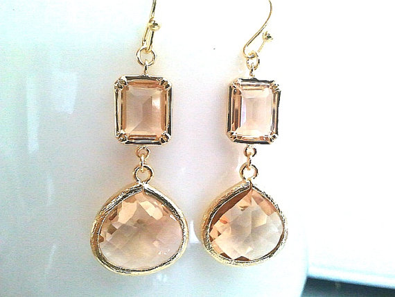 Mariage - Bridesmaid Gift, Peach Earrings, Champagne Earrings,Wedding Jewelry,Bridesmaid Jewelry,Drop Earrings, Glass, Dangle Earrings