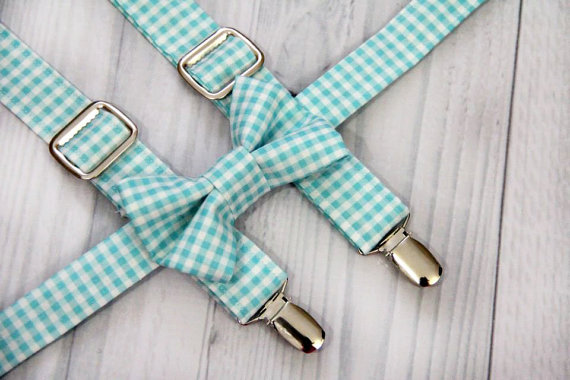 22f2824396ac Suspender and Bow Tie Set with Blue Aqua Gingham . baby boy. Ring bearer,  Photo prop cake smash, wedding, church