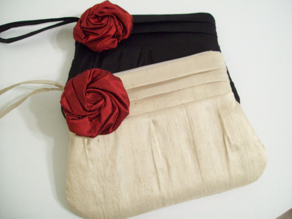 Mariage - Scrunched top Sophia w/rose in silk dupioni (choose colors)-monogram, bags-purses-wedding-bridesmaid clutches-wristlet