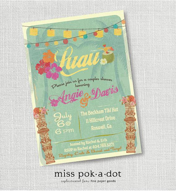 Hochzeit - tiki luau Hawaiian party invitation - hawaiian luau couples wedding shower