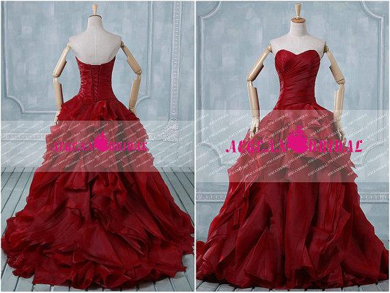 Wedding - RW33 Vintage Wedding Dress with Ruffles Sweetheart Bridal Gown Burgundy Bridal Dresses 2014 Organza Long  wedding Gown