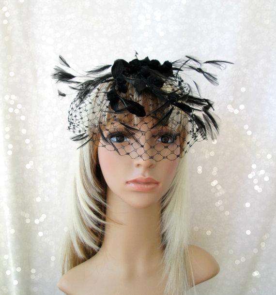 Свадьба - Black Veil Hat, Black Fascinator, Russian Veil Hat , Church Hat, 1950's hat, Kentucky Derby Hat, Bridal Veil, Royal Ascot, Wedding hat