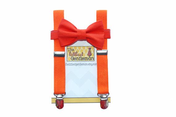 Свадьба - Baby Toddler Boy Orange Suspenders and Bow Tie, Kids suspenders and bow tie, Orange boys suspenders