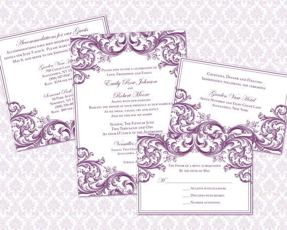 DIY Wedding Invitation Template Set (5x7 invitation & enclosure cards)