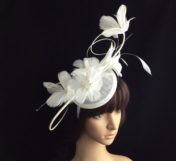 White Fascinator White Feather Derby Hat Sinamay Fascinator Kentucky Derby Fascinator Church
