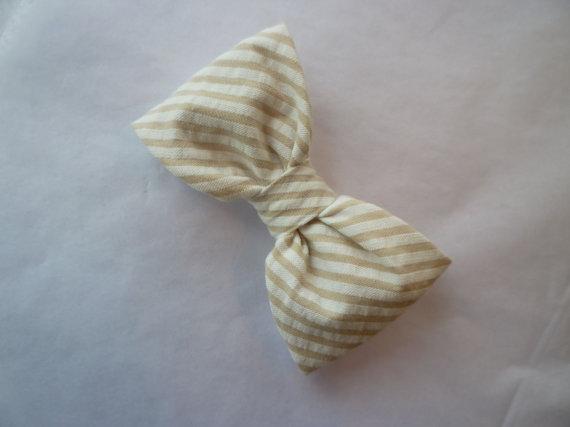 Свадьба - Boy's Tan Seersucker Bow Tie