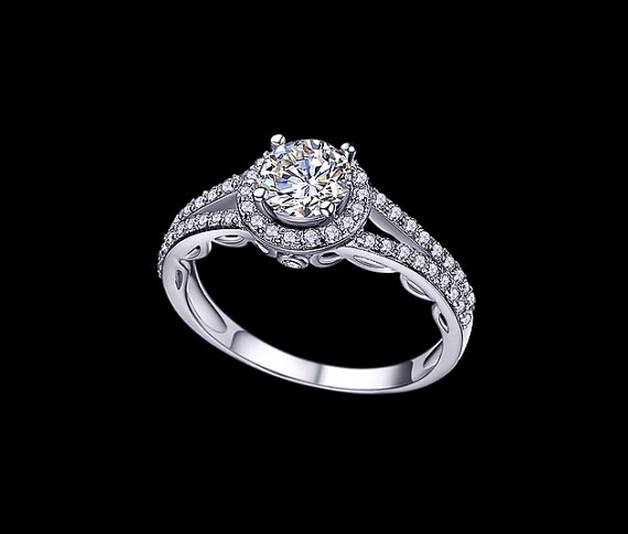 Свадьба - Round Cut 1 Carat Cubic Zirconia Engagement Ring Two Row Pave Halo Ring Wedding Ring Accent Ring Split Shank Ring Promise Ring Prom, AR0040