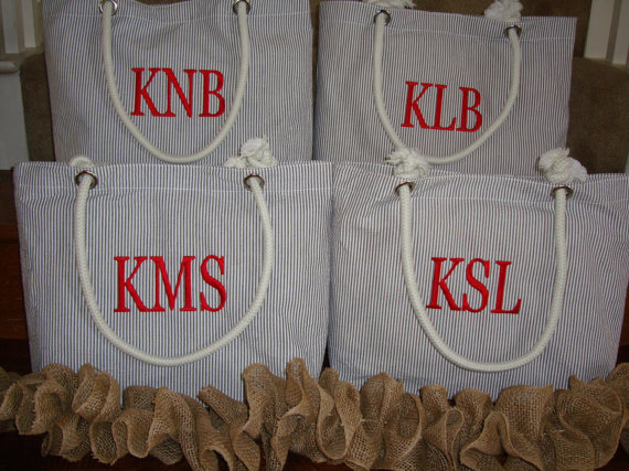 Personalized Bridesmaid Gift Monogrammed Tote Bag, Beach Bag In ...