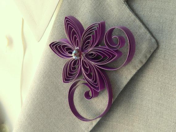 Mariage - Sangria Wedding, Purple Elegant Wedding, Unique Boutonnieres, Men's Buttonhole Flowers, Purple Pink Groomsmen Gift, Flower for Men,