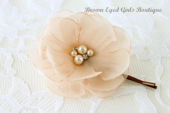 Wedding - Champagne Bridal Flower Hair Clip, Champagne Wedding Hair Accessory, Champagne Bobby Pin