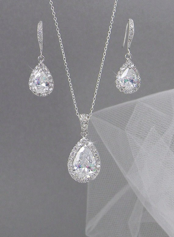 Crystal Bridal Set Bridesmaids Jewelry Pendant And Earrings Wedding Jewellery Ariel SET