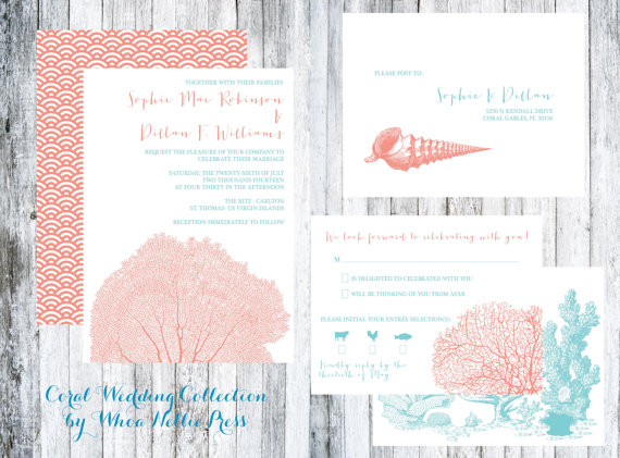 Hochzeit - Coral and Shell Beach Wedding Invitations