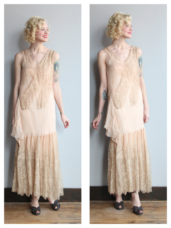 1920s wedding dress love grace silk and lace wedding for Vintage 20s wedding dresses