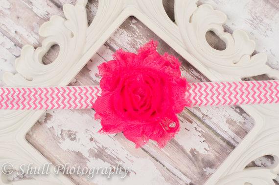Свадьба - 15% OFF ORDER Pink Rosette Headband-Baby Headband-Shabby Chic Flower Headband-Girls Shabby Hairbow-Baby Girl Headband-Baby Hairbow-Headband