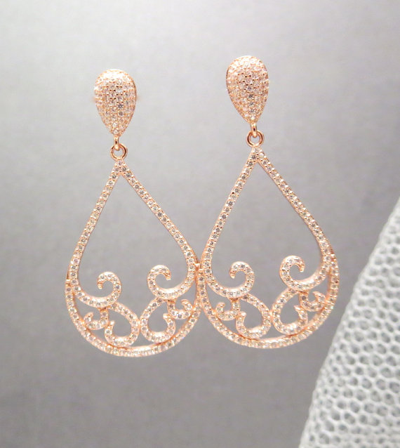 Wedding - Rose Gold Bridal earrings, Rose gold Wedding earrings, Wedding jewelry, Teardrop earrings, Rose gold chandelier earrings, Bridal jewelry