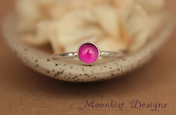 Свадьба - Bezel-Set Pink Ruby Solitaire Engagement Ring in Sterling - Unique Ruby Promise Ring or Commitment Ring - Bridesmaid Ring - July Birthstone