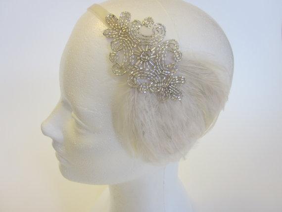 Nozze - Tocados 1920s Tocados Gatsby Silver Headband 1920s Wedding Headband Cream Ivory Feather Fascinator Ivory Ribbon