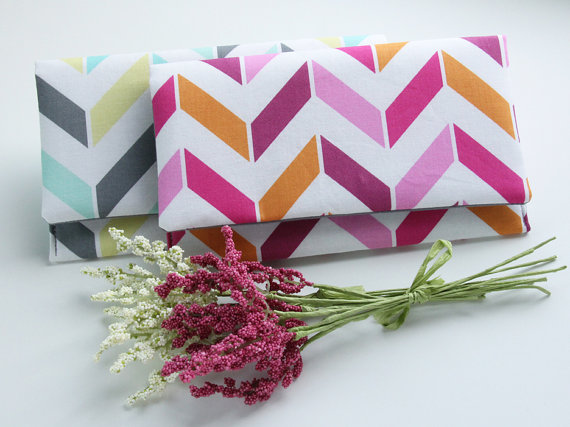 Mariage - Chevron Wedding Clutches, Set of 7 Clutches, Bridesmaid Clutch Set, Bridesmaid Gift Idea, Personalized Clutches